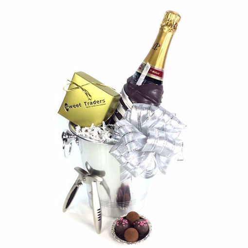 Chocolate Dipped Laurent Perrier Champagne Gift Basket with pliers & truffles by Sweet Traders