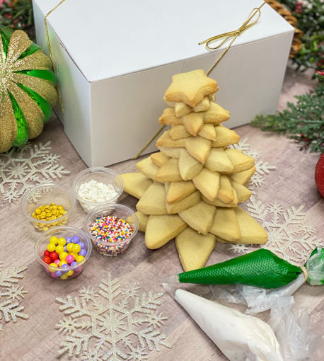 Christmas Tree Cookie Kit By Sweet-Traders with green and white frosting and assortment of sprinkles and pearls